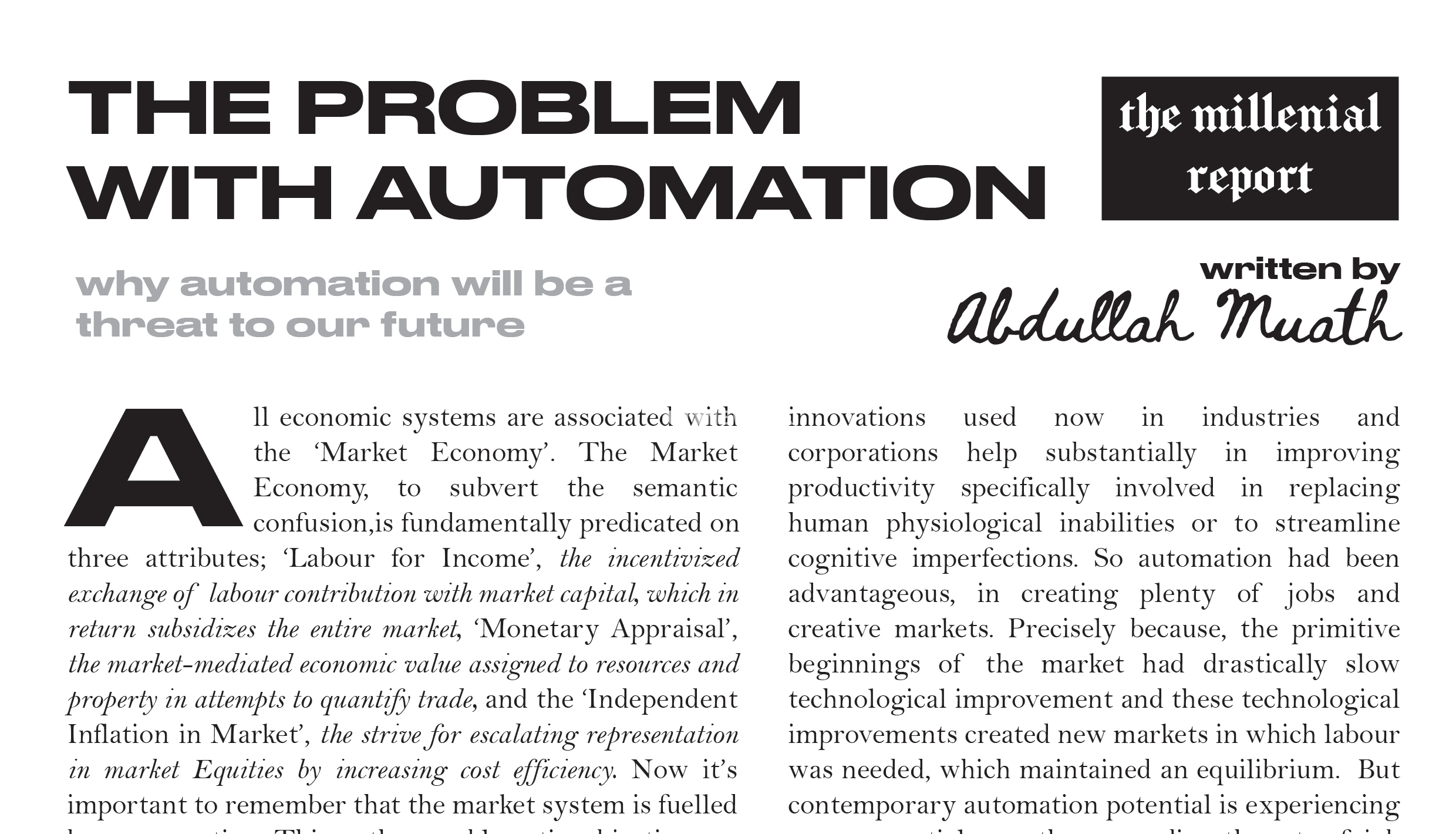 Why automation will be a threat to our future